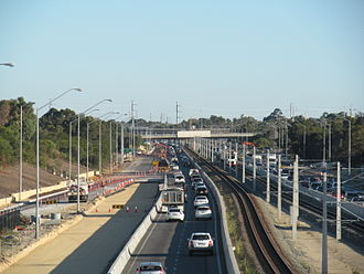 Kwinana Freeway - Construction works to widen the southbound carriageway, April 2012