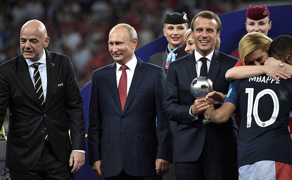 Kylian Mbappé receives the best young player award at the 2018 Football World Cup Russia