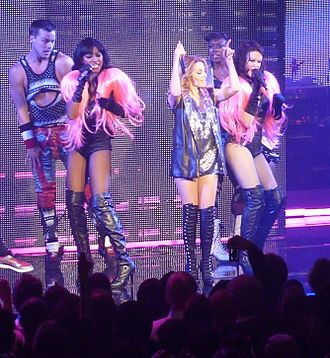 "Better than Today - Minogue, flanked by her dancers, performing ""Better than Today"" during her 2009 North American For You, For Me tour."