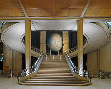 Stairway of the Economic and Social Council in Paris, originally the Museum  of Public Works, built for the 1937 Paris International Exposition by  Auguste ...