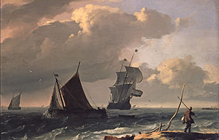 Ships off the coast, in the foreground a man on the shore