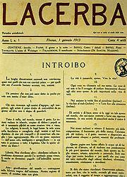Il n.1 della rivista Lacerba, Firenze 1º gennaio 1913