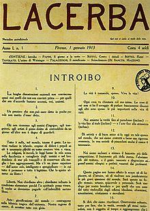 Il primo numero della rivista Lacerba cofondata da Soffici, 1º gennaio 1913.