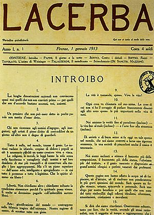 Lacerba - The first Issue, in Florence, 1 January 1913