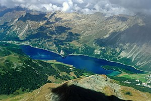 Lake Sils - View of Lake Sils from Piz Corvatsch