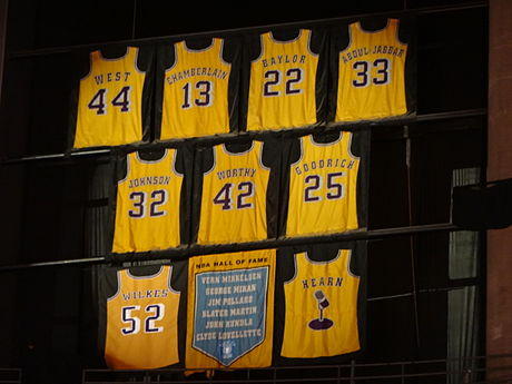 Lakers retired jerseys hanging inside the Staples Center. Lakers vs Nuggets 2013-01-06 (15).jpg