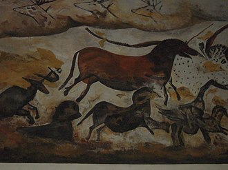 Domestication of the horse - Replica of a horse painting from a cave in Lascaux