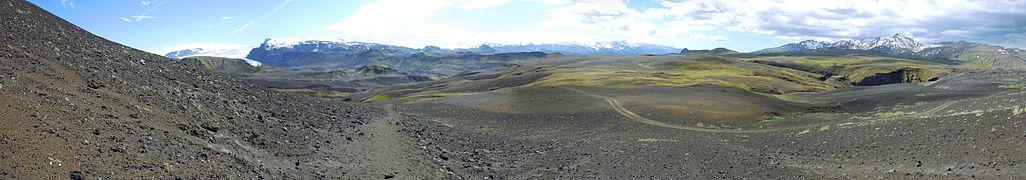 Laugavegur - Mont Tindfjöll - Gorge de la Markafljot panoramic.jpg