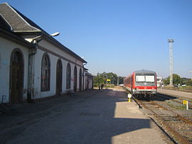Railway station with German train