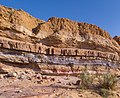 Layers of sedimentary rock in Makhtesh Ramon (50751).jpg