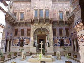 Fatehpur, Rajasthan - Courtyard of 19th century Nadine Le Prince Haveli