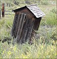 Leaning Outhouse of Kremmling, Reeder Creek Ranch, CO 8-26-12 (8023559357).jpg