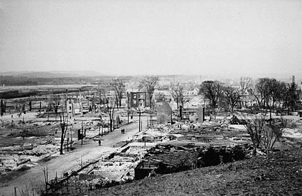 Lebreton Flats after the 1900 Hull-Ottawa fire. The fire destroyed one-fifth of Ottawa, and two-thirds of neighbouring Hull, Quebec. Lebreton Flats after 1900 fire.jpg