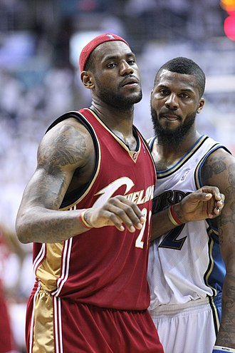 "LeBron James - James and DeShawn Stevenson in April 2008. The two had a short feud after Stevenson called James ""overrated""."