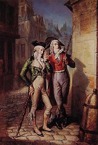 """Muscadin - Two Muscadins, or Incroyables, in 1795, carrying their """"constitutions"""""""