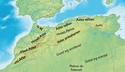 Map of the Maghreb showing the Grand Erg Oriental.