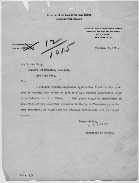 File:Letter to Warren Wong from the New York City Chinese Inspector in Charge transmitting applications showing his status... - NARA - 278659.tif