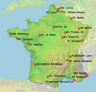 2006–07 Ligue 1 - The locations of the 20 teams participating in Ligue 1 season 2006–07