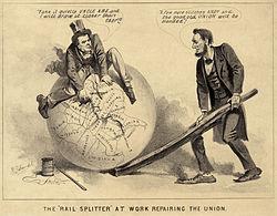 Charge política de Lincoln e Johnson tentando costurar os pedaços rasgados da União.