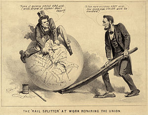 "Editorial cartoon - An editorial cartoon of Andrew Johnson and Abraham Lincoln, 1865, entitled ""The Rail Splitter at Work Repairing the Union"". The caption reads: (Johnson): ""Take it quietly Uncle Abe and I will draw it closer than ever."" (Lincoln): ""A few more stitches Andy and the good old Union will be mended."""