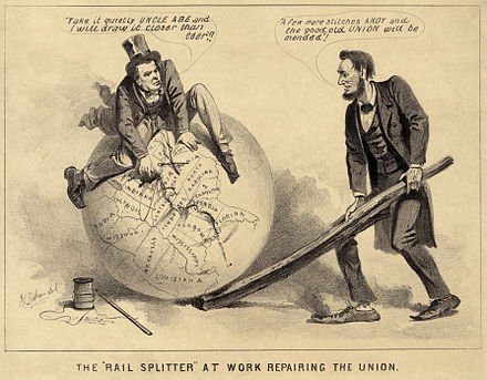 "A political cartoon of Vice President Andrew Johnson (a former tailor) and Lincoln, 1865, entitled The 'Rail Splitter' At Work Repairing the Union. The caption reads (Johnson): ""Take it quietly Uncle Abe and I will draw it closer than ever."" (Lincoln): ""A few more stitches Andy and the good old Union will be mended."" Lincoln and Johnsond.jpg"