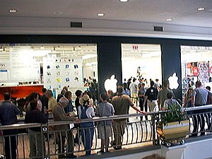 Tysons, Virginia - A line for the opening of the world's first Apple Store at Tysons Corner Center in 2001.