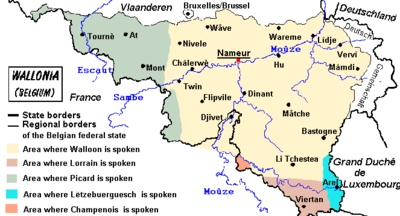 Linguistic map of Wallonia