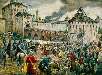 Tsardom of Russia - The Poles surrender the Moscow Kremlin to Prince Pozharsky in 1612. Painting by Ernst Lissner