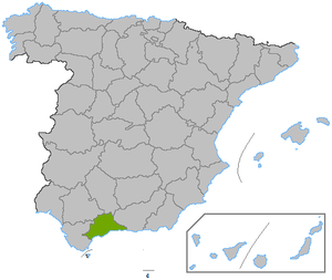 Location of the province of Málaga, in Spain.