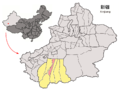 Location of Lop within Xinjiang (China).png