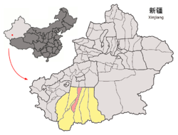 Location of Lop County (red) within Hotan Prefecture (yellow) and Xinjiang