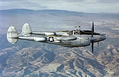 Lockheed P-38J Lightning in flight over California, circa in 1944.jpg