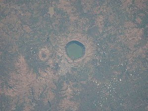 Lonar crater lake - View of the crater from space.   (Image captured by NASA satellite)