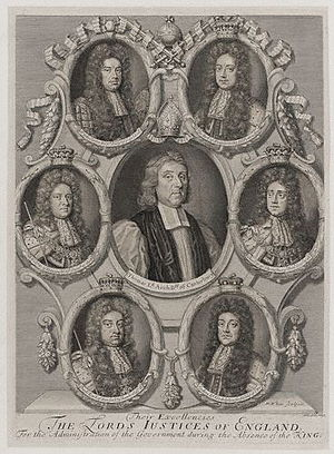 John Somers, 1st Baron Somers - Somers was one of the Lords Justices who William appointed to govern whilst he was abroad in 1695.