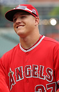 Los Angeles Angels center fielder Mike Trout (27) (5971760364).jpg