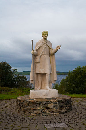 St Patrick's Purgatory - 'Patrick the Pilgrim' statue near the dock for the ferry to Station Island.