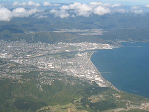 Lower Hutt in New Zealand. Looking eastwards f...