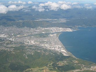 Lower Hutt - Lower Hutt from the air, looking eastwards in March 2009.