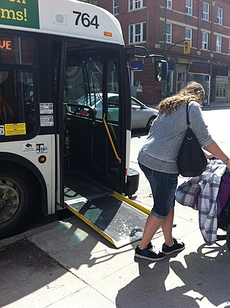 Low-floor bus - Many low-floor buses feature extendable ramps.