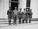 Lt. Lowell Smith, Weeks, Gen. Patrick, Gen. Mitchell, Lt. Eric Nelson, Lt. Leigh Wade at White House.jpg
