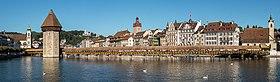 Reuss, Kapellbrücke mit Wasserturm, Jesuitenkirche, Rathaus und Rathausquai