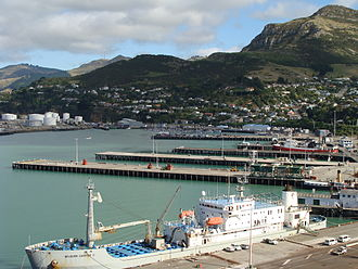 Lyttelton railway station - Lyttelton Port wharves 2, 3, 4, 5, 6, and 7. In the background at left is part of the oil terminal.