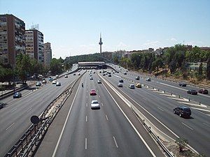 Local-express lanes - Express and local lanes, M-30 circular highway in Madrid, Spain, east section.
