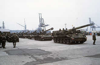 "Neutron bomb - U.S. Army M110 howitzers in a 1984 REFORGER staging area before transport. Variants of this ""dual capable"" nuclear artillery howitzer would launch the W79 neutron bomb."