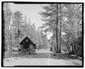MANZANITA LAKE ENTRANCE STATION. LOOKING E. - Lassen Park Road, Mineral, Tehama County, CA HAER CA-270-26.tif