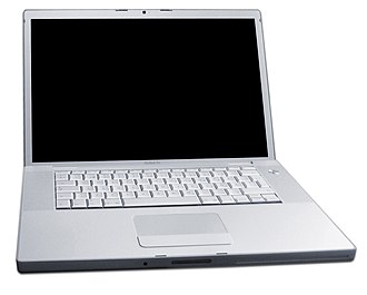 The MacBook Pro, Apple's first laptop with an Intel microprocessor, introduced in 2006. MacBook Pro.jpg