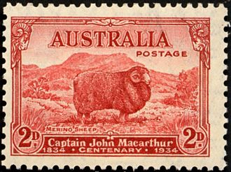 John Macarthur (wool pioneer) - An Australian stamp commemorating the centenary of the death of Macarthur in 1934