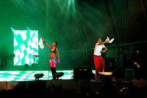 Machel Montano - Patrice Roberts (left) and Machel perform at UWI Splash in Chaguaramas, Trinidad.