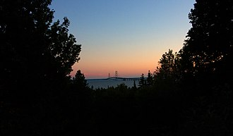 Straits State Park - Mackinac Bridge at sunset as seen from Straits State Park, September 2017