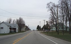 Looking north at downtown Mackville on Wisconsin Highway 47